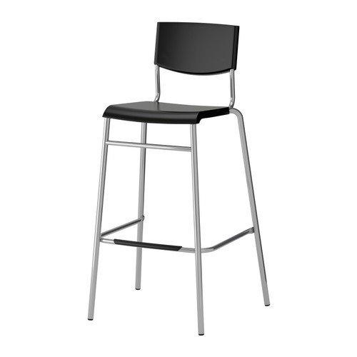 Ikea Stig Barhocker in schwarz; stapelbar; (74cm)
