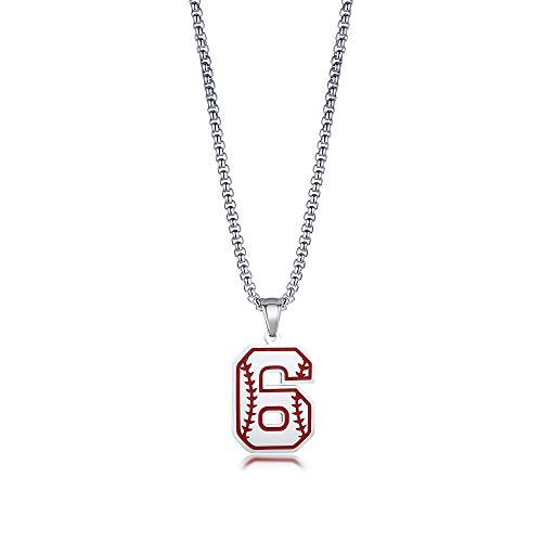Baseball Kreuz Halsketten, Baseballschläger Edelstahl Anhänger Halskette Sport Spieler Geschenk mit Jersey Nummer 6 Charm Schmuck für Herren Jungen
