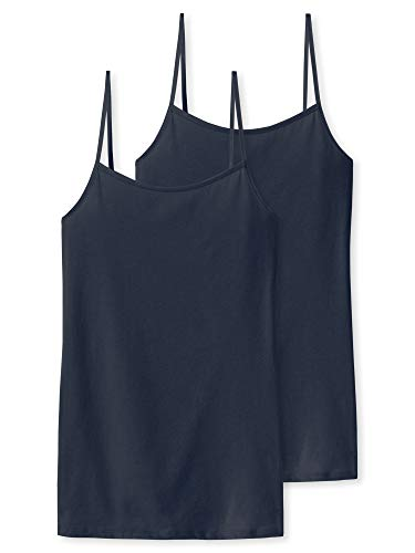Schiesser Damen Unterhemd Spaghettitop, 2er Pack, Blau (Nachtblau 804), 46