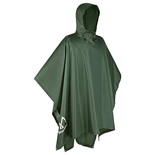 Terra Hiker Waterproof Rain Ponchos, Hiking Rain Jackets, Reusable Rain Coats for Outdoor Activities (Army Green)
