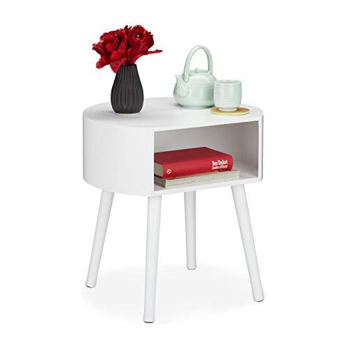 Relaxdays Beistelltisch, runder Nachttisch mit Ablagefach, Holzbeine, Schlichtes Design, HxBxT 47,5 x 46 x 40 cm, weiß, 1 Stück