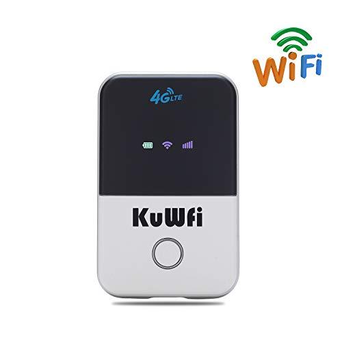 KuWFi Mobiele WLAN-router, 50 Mbit/s Travel Partner Mini Wireless Car 4G draadloze simkaart router ondersteuning werken met T-Mobile/E-Plus-simkaarten 4G WiFi router draagbare Wi-Fi