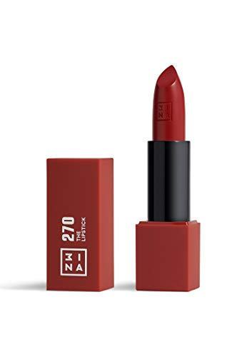 3INA MAKEUP - Vegan - Cruelty Free - The Lipstick 270 - Langanhaltender Lippenstift - Lippenstift Matt - Hochpigmentiert Lippen-Stift - Mattiert - Dunkelrot Matte