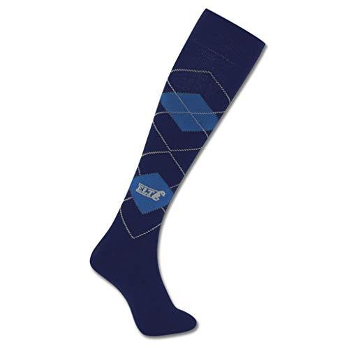 Reitersocken Karo, blau/stahlblau, XS