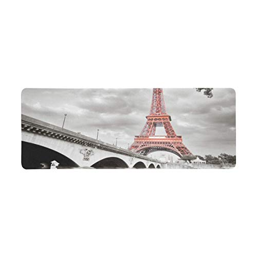 InterestPrint Soft Extra Extended Large Gaming Mouse Pad with Stitched Edges, Desk Pad Keyboard Mat, 31.5 x 12In - Paris Eiffel Tower in Monochrome Style with Selective Colorization