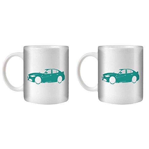 STUFF4 Tee/Kaffee Becher 350ml/2 Pack Türkis/Alfa Romeo Giulia/Weißkeramik/ST10