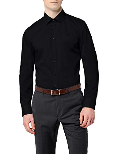 Seidensticker Herren Business Hemd Slim Fit – Bügelfreies, schmales Hemd mit Kent-Kragen – Langarm – 100{1b80693ce3c11e72444909eade57c01e250ddecc355ad79353aa76a00bc1ae2a} Baumwolle , Schwarz (Schwarz 39) , 42 cm