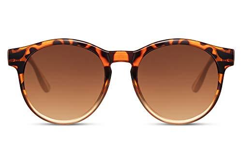 Cheapass Gafas de Sol Retro Vintage Redondas Leopardo a Naranja Transparente Montura Con Lentes Graduales Marrones UV400 protegidas Hombres Mujeres