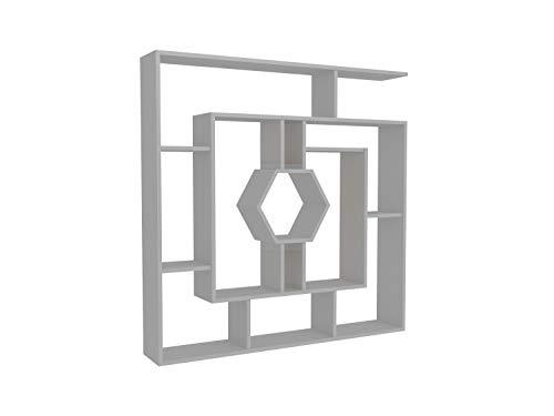 Decorotika 53' Labrina Geometric Bookcase for Home & Office (White)