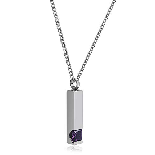 ネックレス 遺骨 ペンダント ステンレス製ネックレス 個性的なペンダント 長方形 ネックレス メモリアル 防水 カプセル ペット人気 チェーン付き (紫水晶)