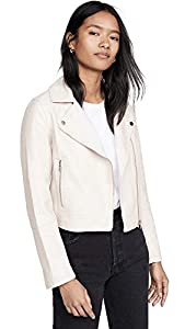 cupcakes and cashmere Women's Chandler Pebble Vegan Leather Moto Jacket, Bone, Extra Small