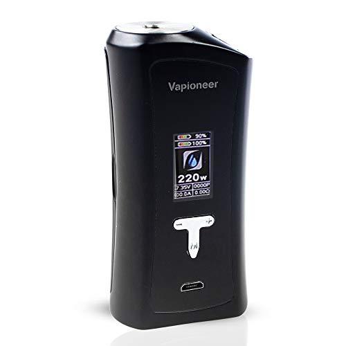 Vapioneer® Tower Mod Schwarz | Akkuträger E-Zigarette 1-220 Watt Leistung | E-Shisha mit 2ml Tankinhalt Liquid | Upgrade auf 5 ml Tank | Dampfer kompatibel mit 18650 Batterien | Ohne Nikotin