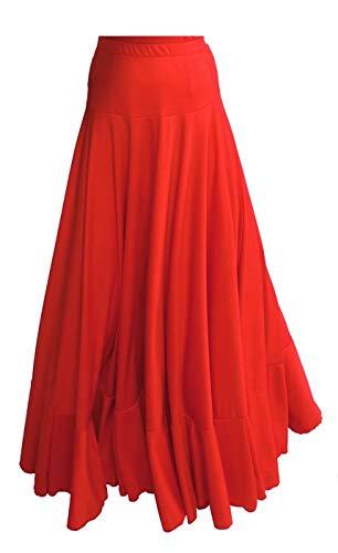 Falda Larga de Danza Flamenco, Color Rojo, tamaño Large