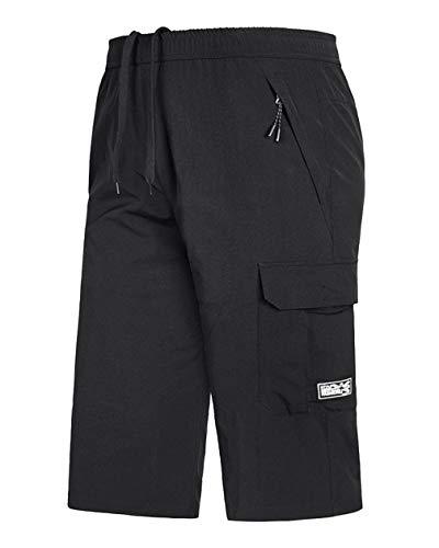 Homme Grande Taille Pantalons Pantacourt Outdoor Fitness Gym Jogging Shorts d'entraînement Noir 5XL