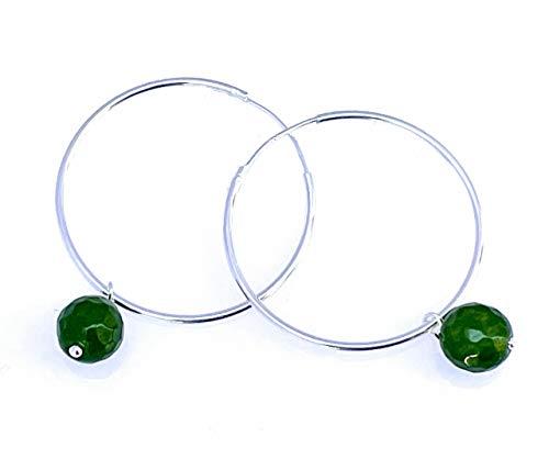 Pendientes creoles de plata 925 y jade verde 30 mm, joyas con piedras naturales, estilo minimalista, regalo para ella