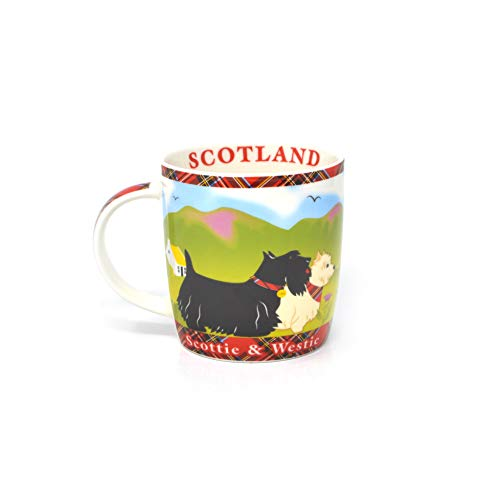 Royal Tara Scotland Terrier Mug/West Highland Thistle Scottish Scots Porcelain Cup with Scottie & Westie and Red Plaid Design, Made of New Bone China, 370 ml/12.5 fl oz