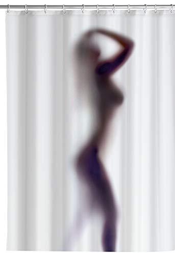 Wenko Anti-Schimmel Duschvorhang Silhouette, Textil-Vorhang mit Antischimmel Effekt fürs Badezimmer, waschbar, wasserabweisend, mit Ringen zur Befestigung an der Duschstange, 180x200 cm