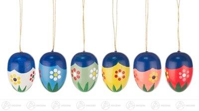 Baumbehang Ostereier mit Blumen, 6 Stück – Osterschmuck – Strauchbehang – Ostern & Frühjahr - Frühjahrsdeko – Handarbeit aus dem Erzgebirge – NEU