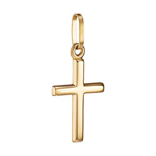 IDENTIM Damen Kinder Kreuz Anhänger 585 Gold (OHNE Kette) Kreuzanhänger kleines Kreuz schlicht glänzend 14 Karat Goldkreuz Echtgold 94754
