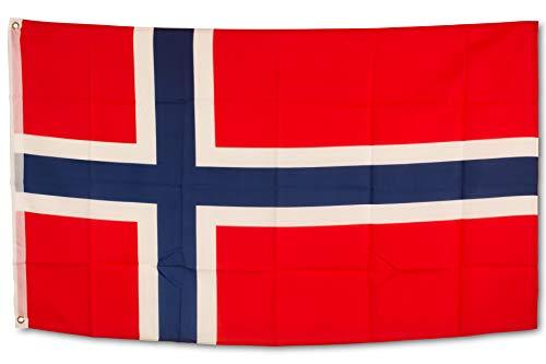 SCAMODA Bundes- und Länderflagge aus wetterfestem Material mit Metallösen (Norwegen) 150x90cm
