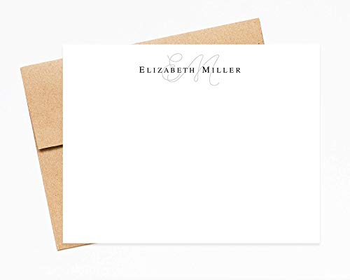 Monogram and Modern Personalized Stationery Note Cards with Envelopes