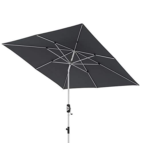 Knirps Sonnenschirm Automatic – Quadratischer Kurbelschirm – Modernes Design – Starker UV-Schutz – 240x240 cm – Dunkelgrau