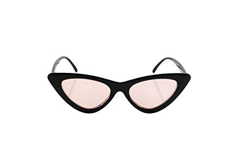 Loomiloo - Gafas de sol para mujer, diseño retro vintage, ojo de gato Rosa/negro Talla única