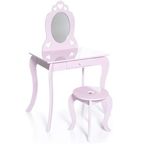 Milliard Tocador Mesa de Maquillaje para niños, Juego de Mesa y Silla Para Niñas, Color Rosa con Espejo