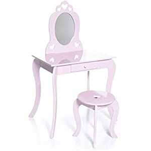 31ykCkd 0NL. SS300  - Milliard Kids Vanity Set with Mirror and Stool, Beauty Makeup Vanity Table and Chair Set for Toddlers and Kids, Pink