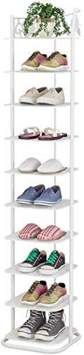 A-Generic Zapatero de Metal con 10 Niveles, Organizador de Zapatos, Torre de casa Vertical, estantes para la Sala de Estar, vestidor y Pasillo, individuo-Blanco