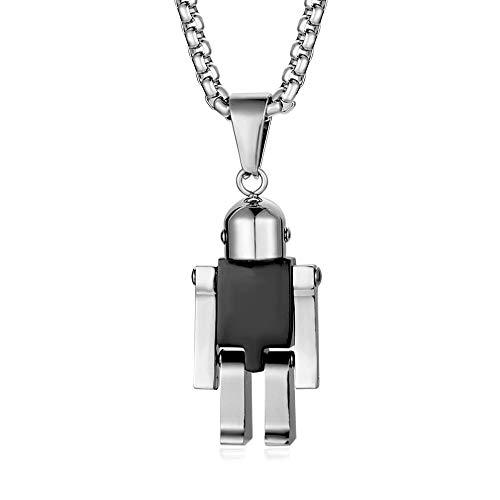 Collar De Mujer Varios Colgantes De Robot De Acero De Titanio.