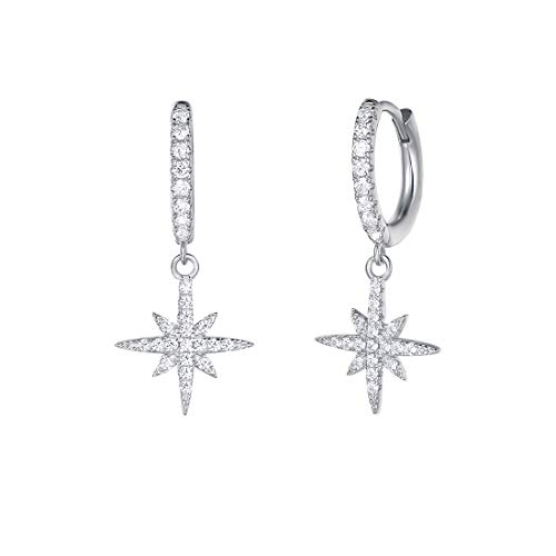 Carleen White Gold Plated 925 Sterling Silver CZ Cubic Zirconia Simulated Diamond Star Starburst Compass Dangle Small Drop Hoop Earrings For Women Girls