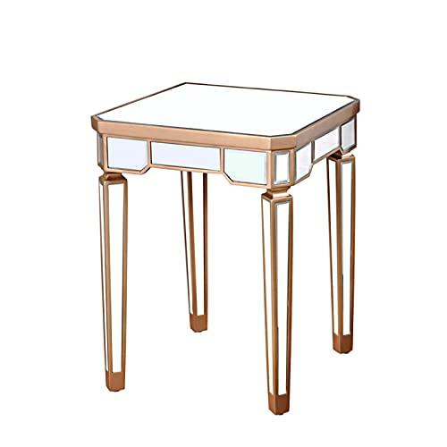 Mesa de Centro Mesa de centro cuadrada de espejo plateado de lujo ligero, mesa auxiliar y mesa de esquina de jardín de sala de estar creativa, mesa de almacenamiento de s(Color:Mesa de almacenamiento)