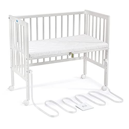 WALDIN offenes Baby Beistellbett mit Matratze und Spanngurt, geeignet für Boxspringbetten, Holz natur oder weiß lackiert, Farbe:Weiß lackiert, Größe:Weiß lackiert