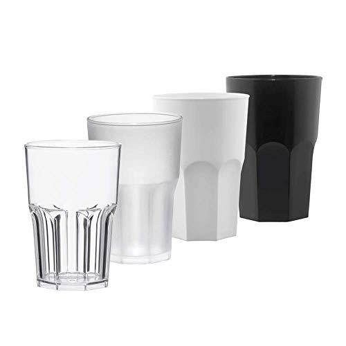 TUNDRA ICE INTERNATIONAL Set 24 Pezzi Bicchieri Cocktail Personalizzabili con Logo in Policarbonato (Plastica Rigida) da 40Cl 100% Design Italiano, Tumbler Riutilizzabili Colore BIANCO