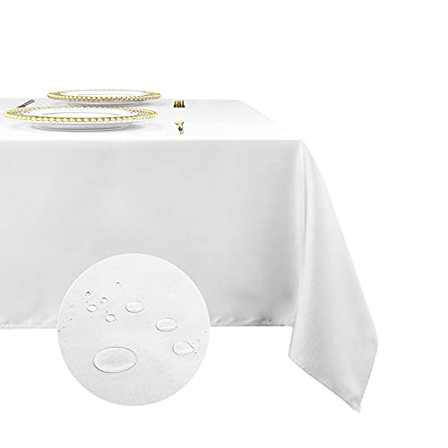Romanstile Rectangle Tablecloth 60 x 84 inch - Waterproof and Wrinkle Resistant Washable Polyester Table Cloth for Kitchen Dining/Party/Wedding Indoor and Outdoor Use Table Cover (White)