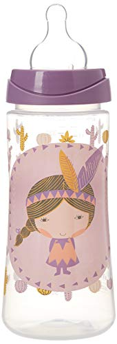 Suavinex 303134 - Biberón tetina papilla de silicona, 360 ml, indios, color lila