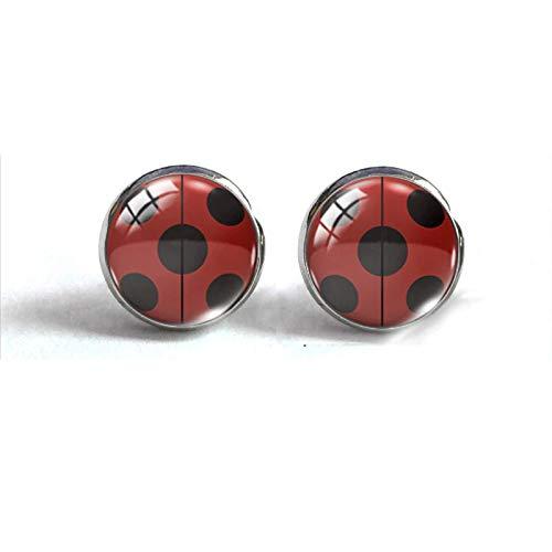 Pendientes de clip de plata con estampado de mariquita manchada roja y negra