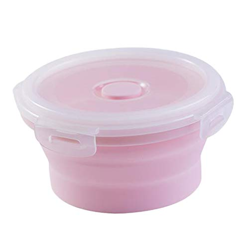 #N/A Round Food Container Storage Collapsible Camping Bowl Microwave Refrigerator - Multicolor, medium 500ML pink