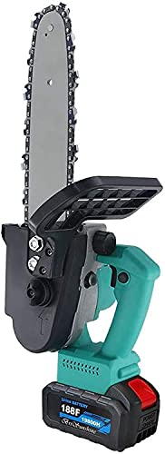 YAOJIA Mini Chainsaws Cordless Brushless Cordless Chain Saw | 10-inch Portable One-Hand Operated Electric Pruning Saw Kit for Cutting Wood Trees Branch Gardening Tool (Size : 32800H+Backup Battery)