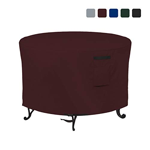 Fire Pit Outdoor Covers Waterproof, 100% UV Resistant, 18Oz PVC Heavy Duty Fabric with Air Pockets and Drawstring for Snug fit to Withstand Winds & Storms. (40 X 18 inch, Burgundy)