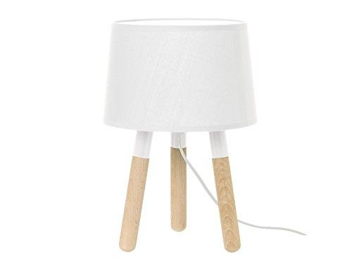 Leitmotiv LM1038 Lampe de table bois, abat jour blanc