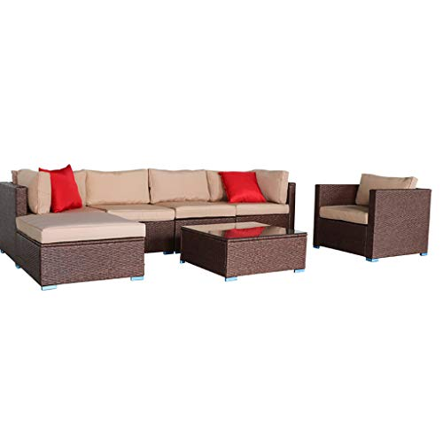 JHZYP Patio Furniture Sets All Weather Outdoor Patio Conversation 7 Pieces Wood Grain Patio PE Wicker Rattan Corner Sofa Set Table Porch Furniture Sets Chairs with Glass Coffee