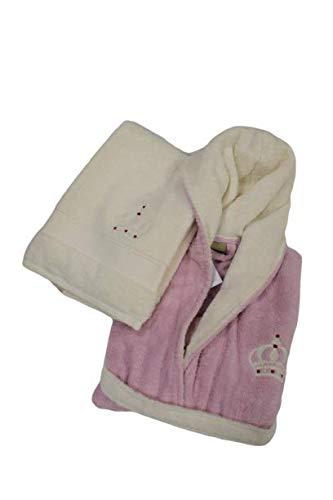 Germini Kit peignoir pour femme + lot de 2 serviettes de bain avec couronne brodée et strass en coton blanc et rose haute qualité - Rose - M