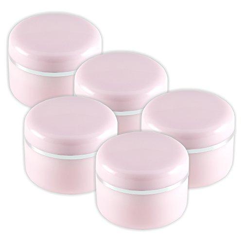 Lot de 5 pots de crème 15 ml avec bord argenté et disque d'étanchéité Rose