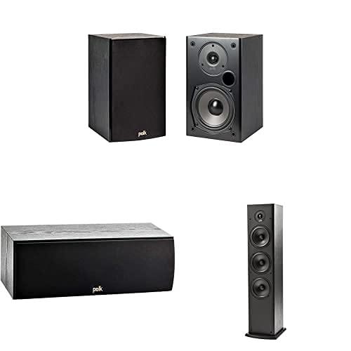 Polk Audio T-Serie, 5.0 Heimkino Soundsystem (Lautsprecher-Set), Surround System bestehend aus 2x T50 Standlautsprechern, 1 Paar T15 Regallautsprecher und 1x T30 Centerlautsprecher