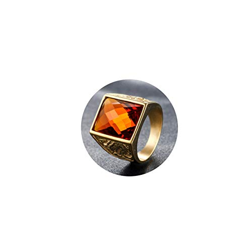Daesar Stainless Steel Rings Engagement Ring for Men Biker Rings Dragon Phoenix Orange Cubic Zirconia Rings in Gold Ring Size 7