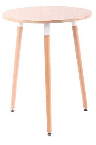 CLP Retro-Design Küchentisch Amalie mit 3 Holzbeinen I I rund Ø 60 cm I Tischhöhe 75 cm, Farbe:Natura, Gestell Farbe:Natura