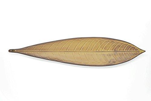 Djiale Incense Stick Holder Ceramic Incense Burner with Ash Catcher 11 inch(Leaf Brown)