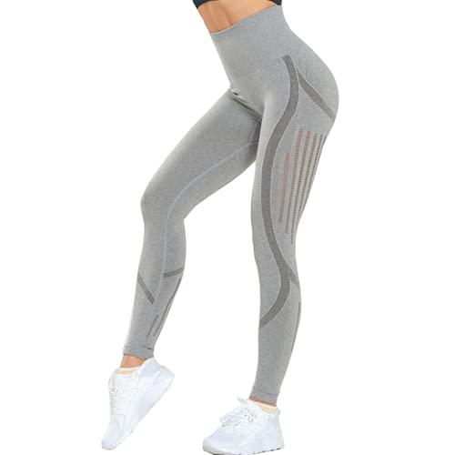 Pantalones de Yoga Sexis sin Costuras para Mujer, Pantalones Deportivos de Cintura Alta, Pantalones de Yoga, Mallas de energía de Fitness súper elásticas B M